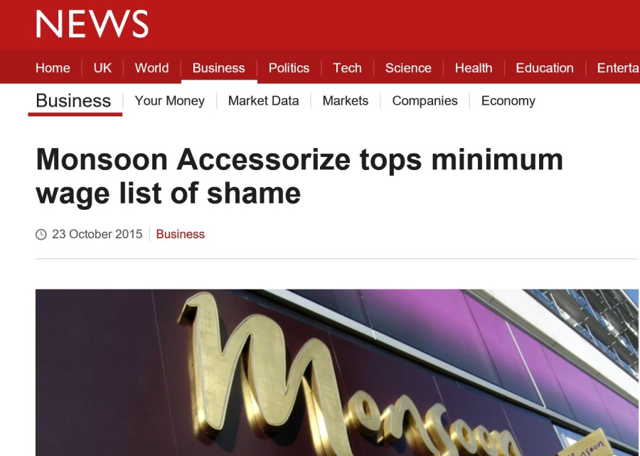 Screen grab of BBC coverage of national minimum wage name-and-shame